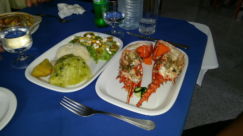 Lobster and Steamed Vegetables, Riberia Grande, Santa Antao
