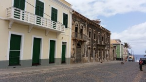 Ponta Do Sol, Santo Antao – on the road from the Town Hall to the sea, refurbished and neglected buildings stand side-by-side