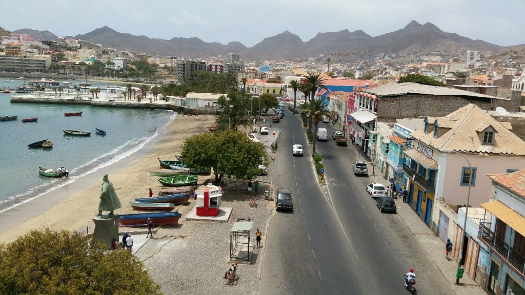 (Mindelo's seafront along Avenida da Republica: the span, from left to right includes a variety of building styles – new build and restoration, hotels, restaurants and residential properties)
