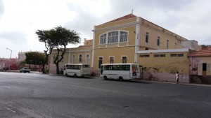 (Rear and side elevation of the university in Mindelo)