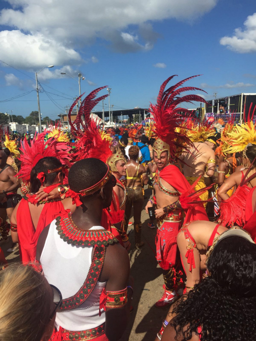 Revellers enjoying Carnival 2015 in Trinidad