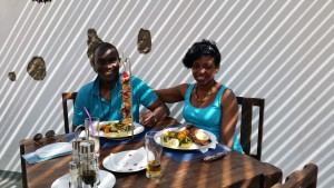 AfricanPostmark's Ade & Isabella enjoying the cuisine in Cape Verde
